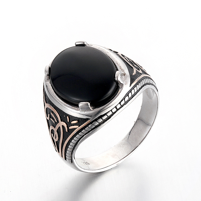 New Products 2016 925 Silver Ring With Black Stone Ring