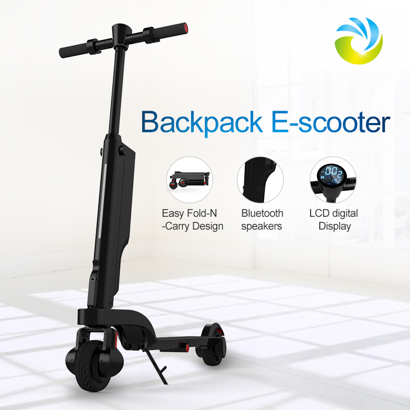 2018 New four foldable mini backpack portable 250w electric scooter e-scooter with detachable battery
