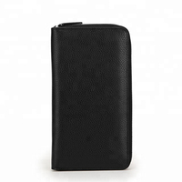 Men Purse Genuine Leather Wallet Clutch Brand,Genuine Vintage Leather Long Zipper Wallet Hand Clutch Black
