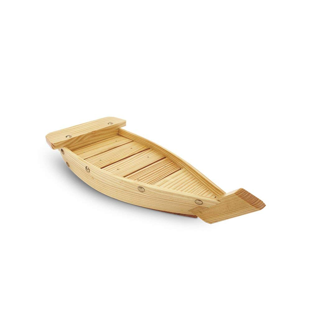 QINGPINHUI Japanese Sushi Boat Wooden Sushi Tray Serving Boat Plate for Home or Restaurant (Large)