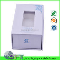 High quality magnetic closure oblong gift box window box see through gift box for cosmetic trade