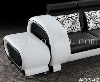 L Shaped Sofa Sectional Black And White Leather Sofa - Buy Black ...