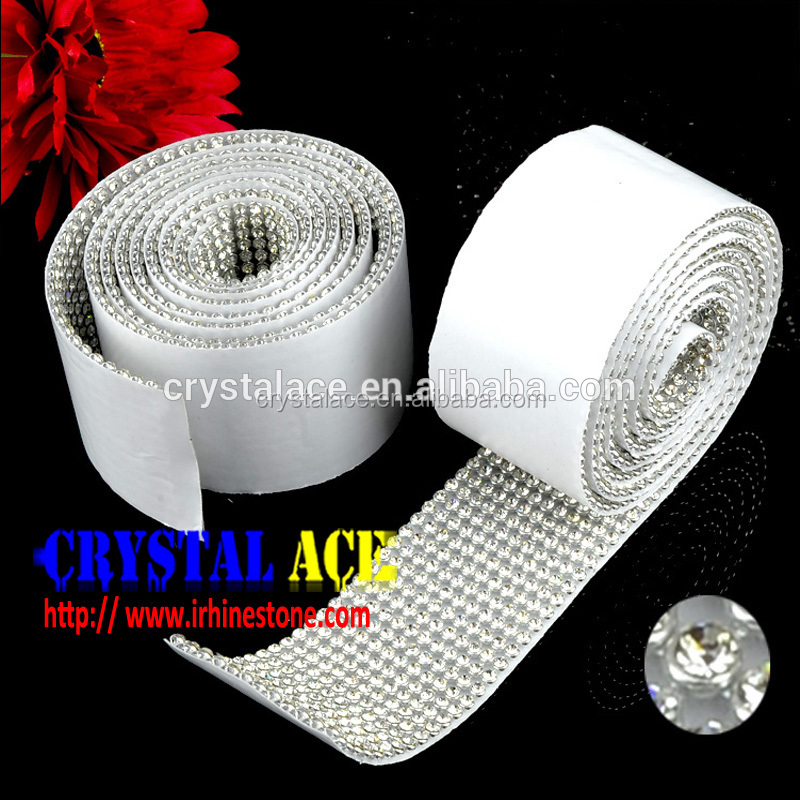 Sparkly adhesive rhinestone metal mesh sheet, sticky strass banding wrap, clear crystal easy cut metal trimming Promotion