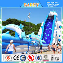 commercial grade 0.55mm plato PVC dolphin big inflatable water slides for sale