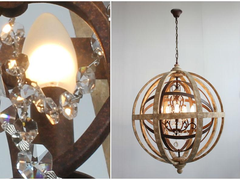 Lampadario In Legno Antico : Antico di illuminazione del globo lampadario in legno luce del