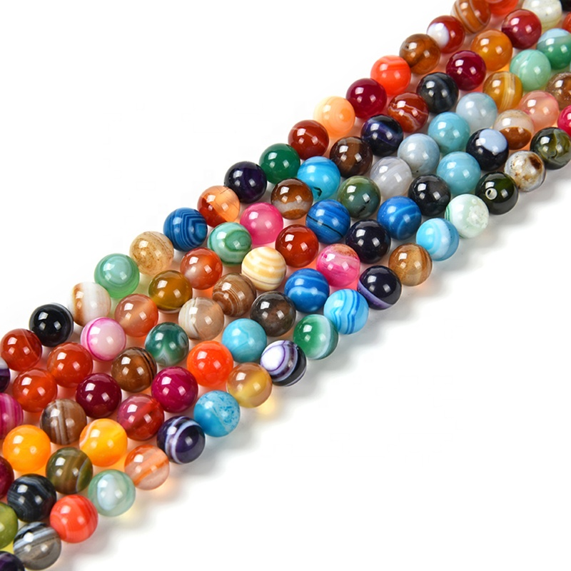 Round Semi-Precious Loose Bead Striped Agate Stone Gemstone Beads For Jewelry Making