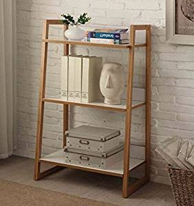 K&A Company Modern Bookcase 3 Shelves 21.2 x 14.5 x 36 inches in Bamboo White Finish