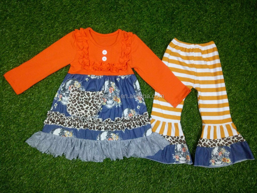 Hot Sale Little Girls Autumn Long Sleeve Boutique Outfits Stripes Flower Print Smocked Clothes Set Ruffle Dress Pants set