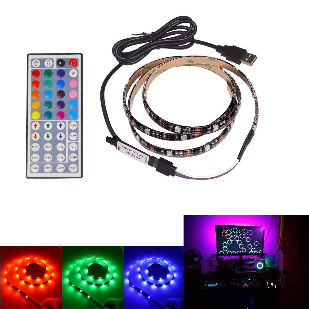 LED Lighting Strip 1M/3.28ft Multi-Color 5050 RGB Adhesive USB LED TV Backlight Strip with 44keys control , Bias Lighting (1M/3.28ft)