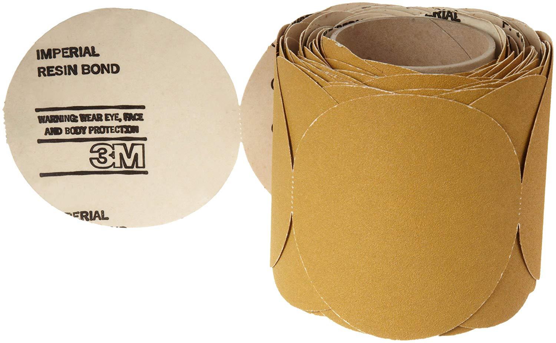"3M Stikit Paper Disc Roll 363I, PSA Attachment, Aluminum Oxide, 6"" Diameter, 60 Grit, Gold (Roll of 100)"