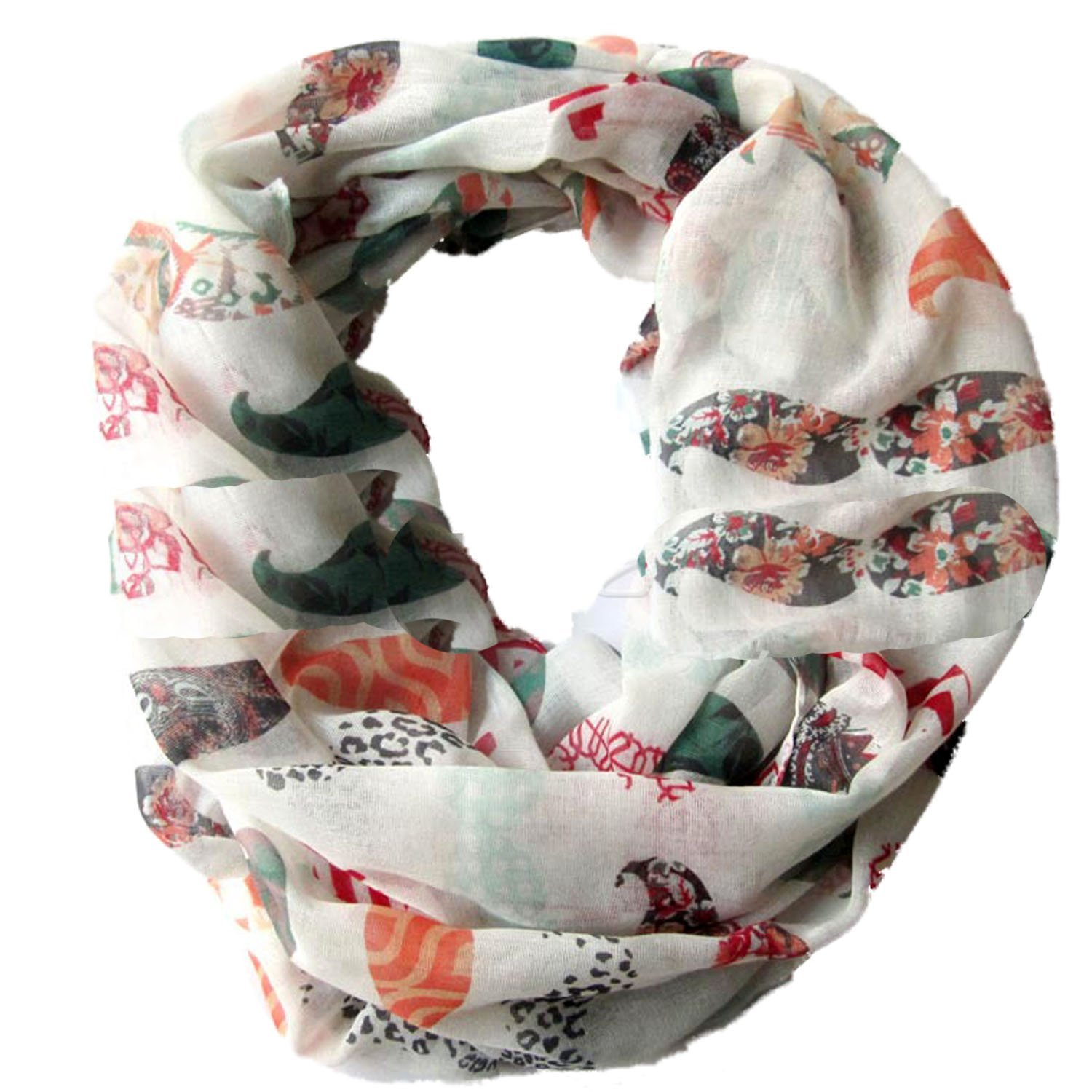 Sexyinlife Funny Colorful Mustache Print Infinity Loop Circle Scarf Shawl
