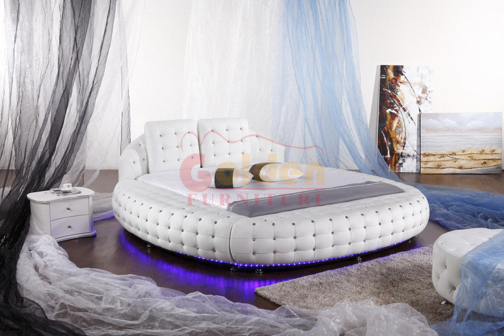 Modern Furniture Latest White Leather Double Round Bed Buy Round