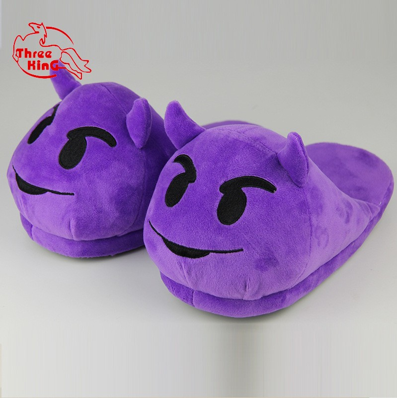 "A-class keep warm 8.5""/11"" high quality super soft plush purple devil emoji slipper"