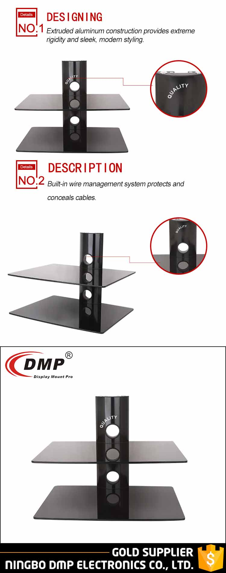 DRS502 home furniture tempered glass set top box dvd player stand two glass DVD shelf bracket