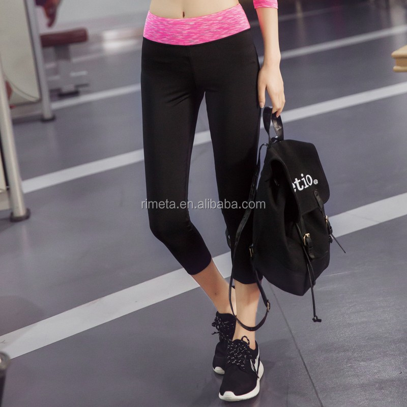 Classic contrast quick-drying sports running women wholesale yoga capri work out athlete fitness leggings for ladies