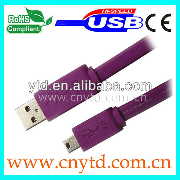 purple color Flat usb usb am to mini 4p cable