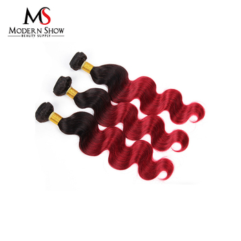 Black And Burgundy Ombre Human Hair Red Copper Hair Color Shedding