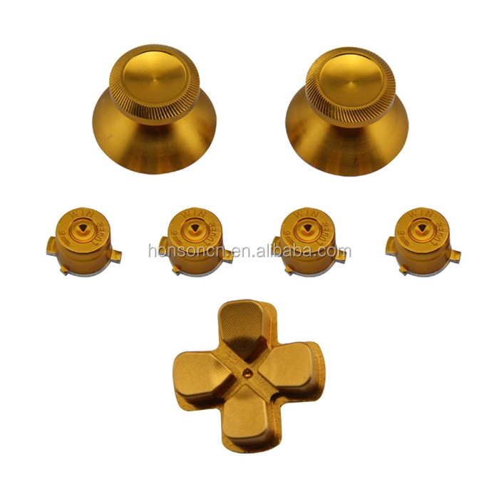 Full 4 Metal Bullet Buttons + 2 Aluminium analog stick +1 Metal D-pad Button Mod Set Kits For PS4 Controller