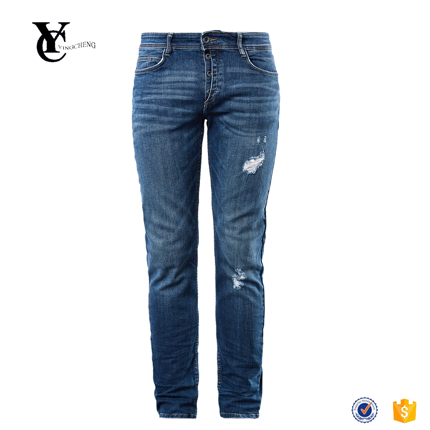 Hot sale oem service soft stretchy denim vintage whiskering half-concealed button placket mens close slim fit distressed jeans