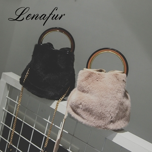 Rabbit Skin Fur Bag Lady Fashion Handbag Shoulder Bags