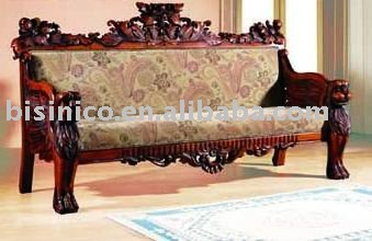 American Style Solid Wood Sofa Bench Fabric Living Room Set