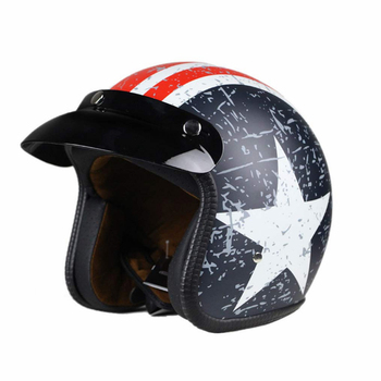retro look comfortable interior 3/4 Open Face Motorcycle Helmet Flat with Rebel Star Graphic