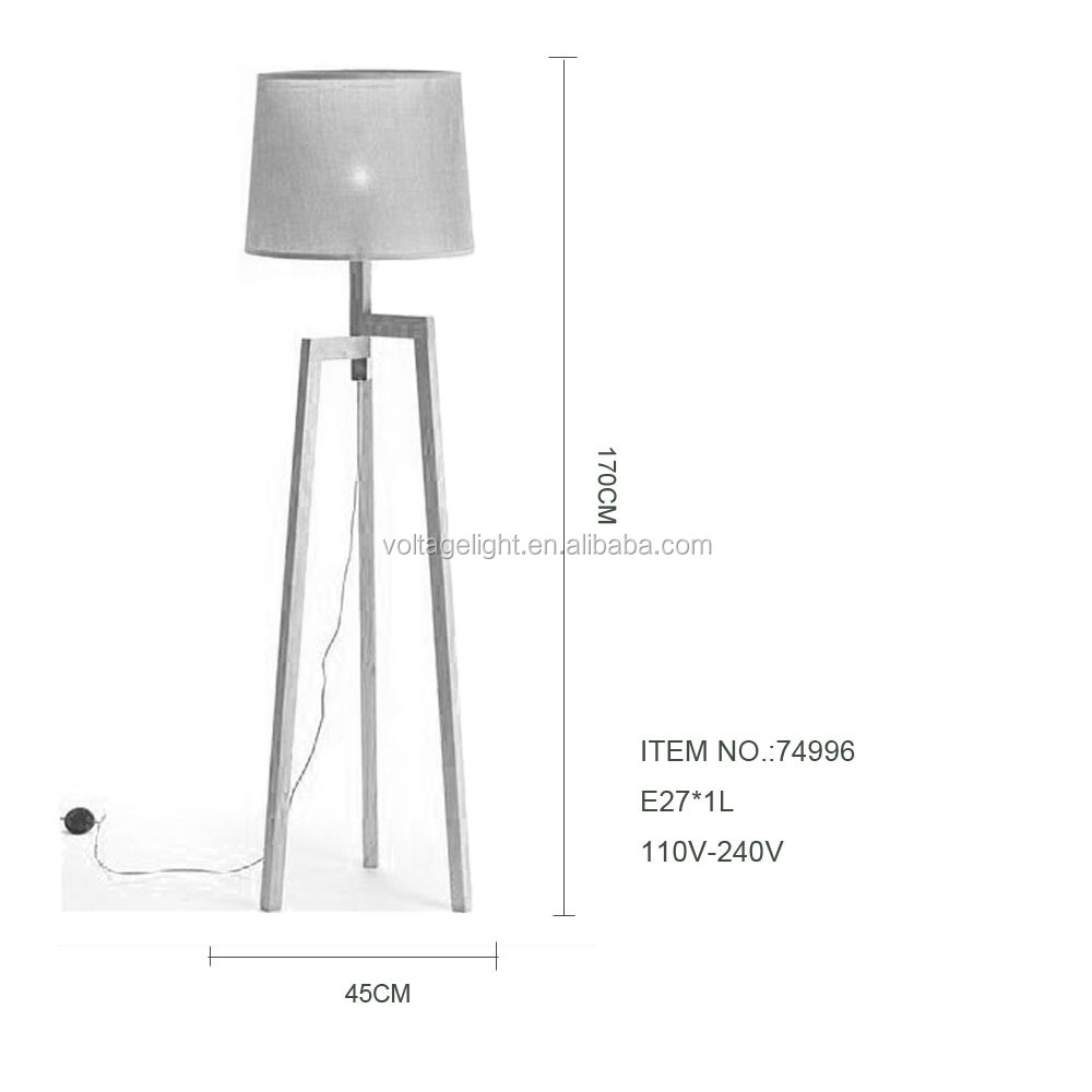Modern Wood Floor Standing Lamps Fabric Lampshade Red Cord Wooden ...