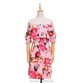 New arrival women smocked off the shoulder floral print vintage loose mini dresses