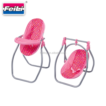 Feili Baby Doll Highchair And Doll Swing Toy 2 In 1 Set Swing Toy