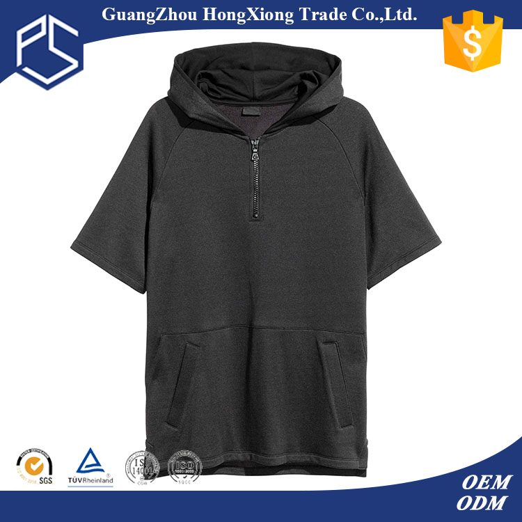 Hongxiong oem half zipper short sleeve with hood pocket 100%cotton blank black t-shirt hoodies production