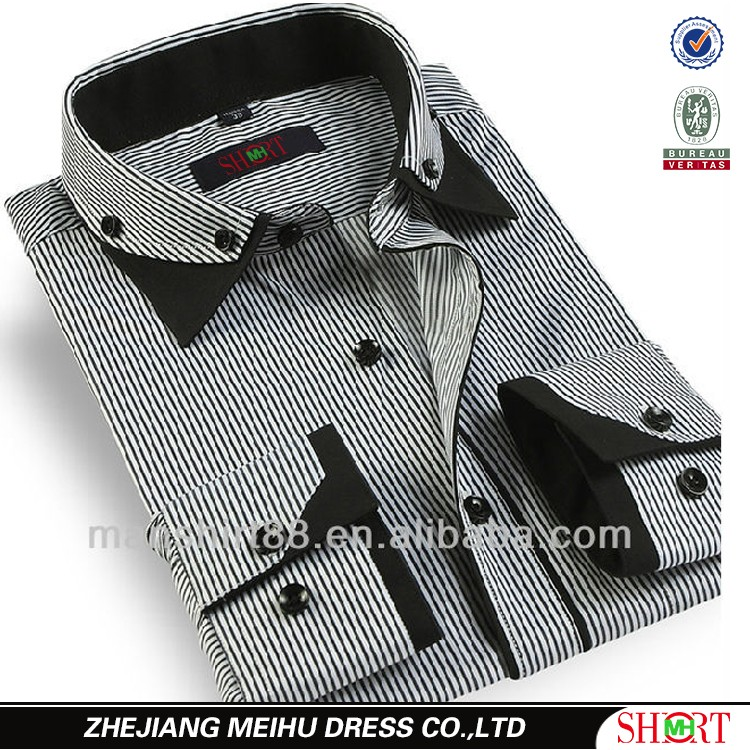 2016 Button Up Collar Contrast Color Dress Shirt