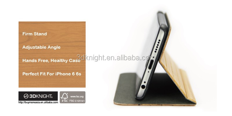 For iPhone 6s Real Bamboo Wood Flip Stand Case, Blank Hard Back Hand-made Wooden Covers for iPhone Wood Case