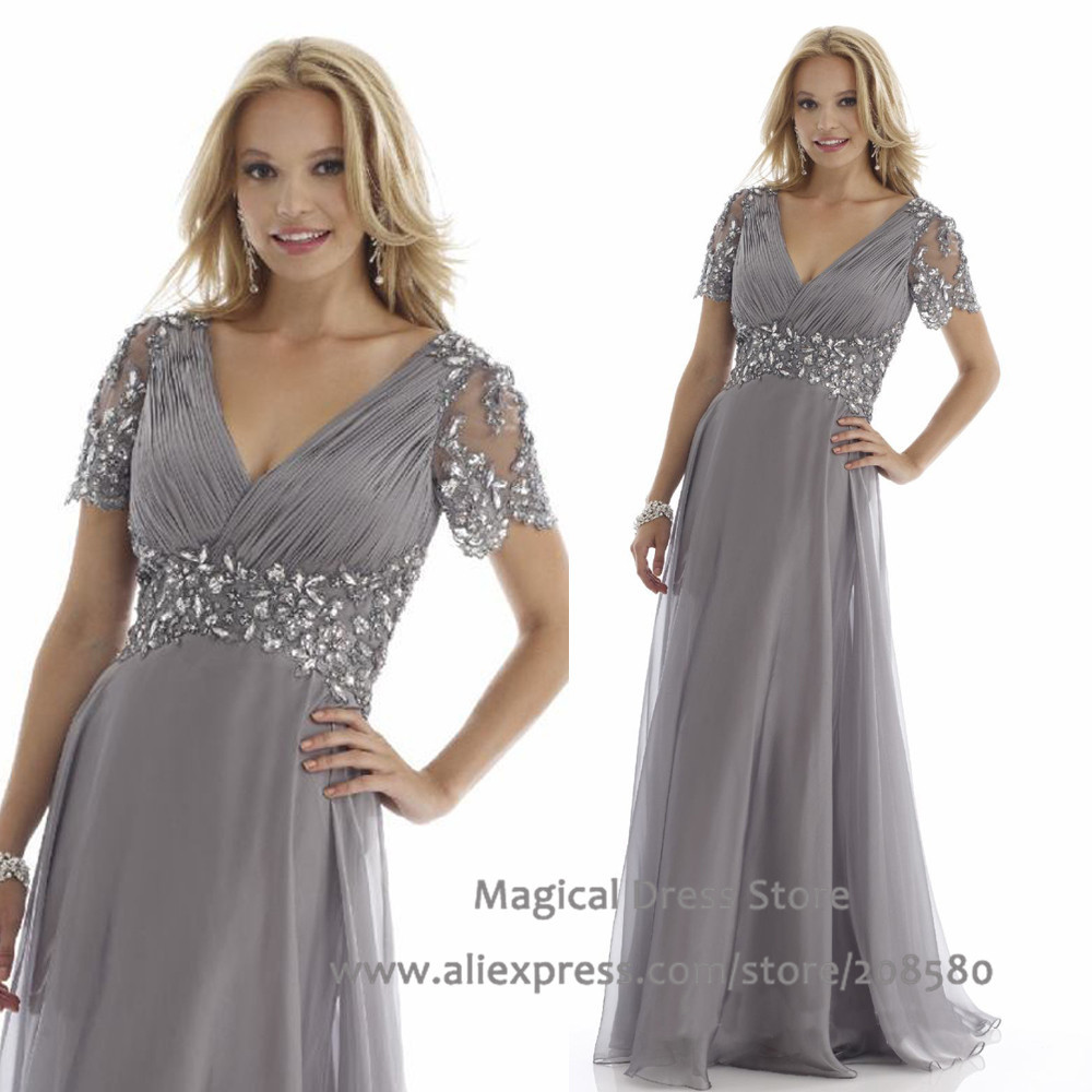 Get Quotations · Grey Plus Size Mother of the Bride Dresses Short Sleeve  Evening Gowns Crystal Vestido De Madrinha ef2cac2283a2