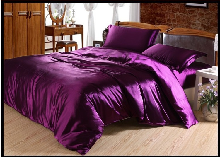 luxury deep purple silk bedding set satin sheets queen full twin quilt duvet cover super king. Black Bedroom Furniture Sets. Home Design Ideas