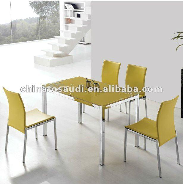 limn amarillo mesa comedor conjunto con el vidrio superior mesa comedor para