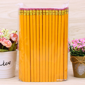 Customized high quality HB yellow wooden Pencil with eraser