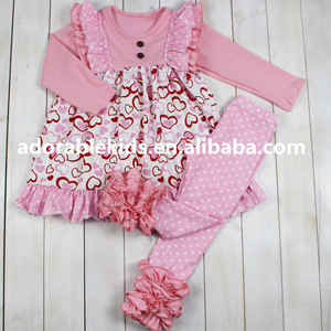 Adorable children kids clothes boutique Valentine love clothing set baby girl clothing wholesale