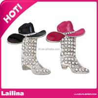 Lucky Western Cowboy Boots Brooch Black & Pink Hat Pin Charm Enamel Jewelry