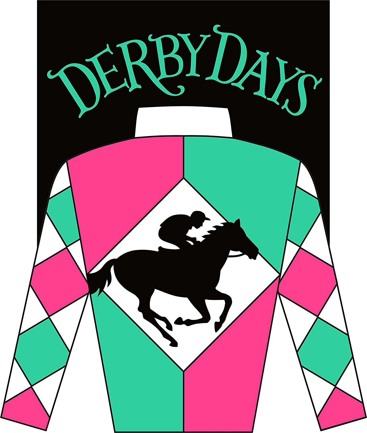 """ DERBY DAYS - HORSE RACING "" - Garden Size, 12 Inch X 18 Inch, Decorative Double Sided Applique Flag EMBROIDERED, License, Copyrights, Trademark by Custom Decor Inc."