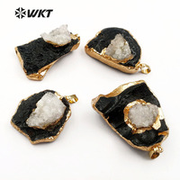WT-P1389 Wholesale Fashion Design Custom black tektite with For Fashion Women Jewelry Making druzy quartz Unique Pendants