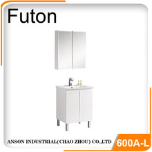 Modern cabinet European Australia bathroom cabinet with kicker board white color MDF vanity