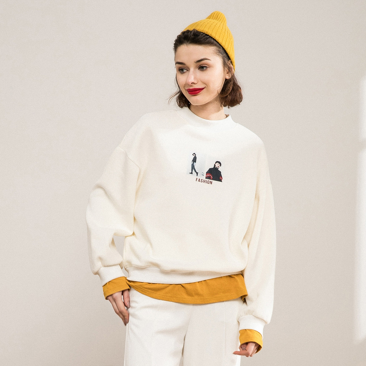 comfort colors ladies sweatshirt embroidered drop shoulder long sleeve woman sweatshirts