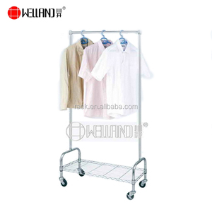 Movable Chrome Metal Single Pole Extended Vertical Clothes Rack