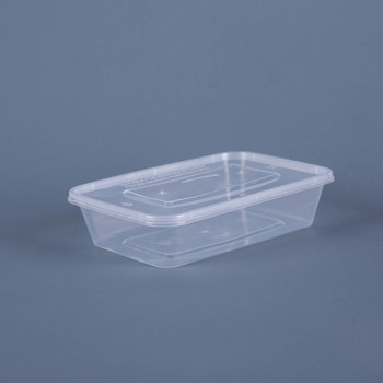 500ml Disposable Microwave Clear Pp Plastic Rectangular Food Container With Lid