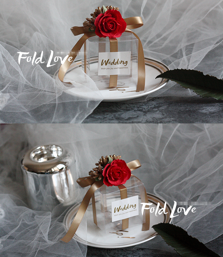 Customized printed small gift clear pvc pe wedding candy packaging folding box container with flower rose and gold ribbon