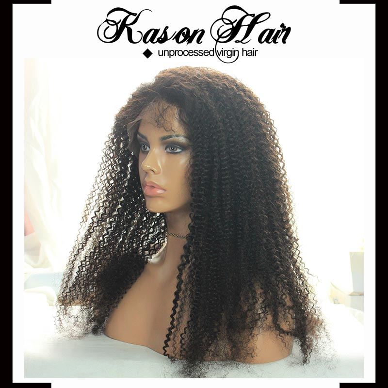 Full Lace Wig Type Afro Kinky Human Hair Wig Long Hair Sex Women ...