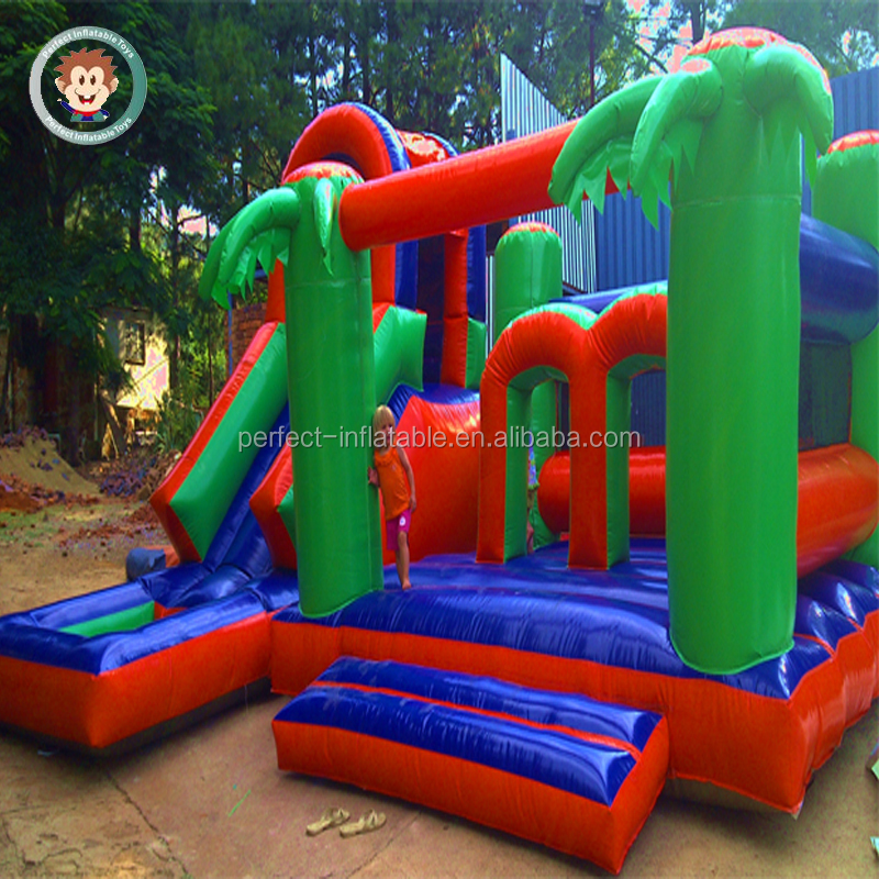 Outdoor Playground Palm Tree Design Jumping Bounce Inflatable Slide Combo