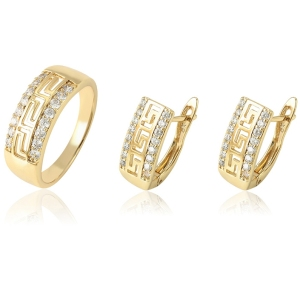 64778 Xuping wholesale jewelry set for women earrings and ring fashionable 14k hoop two pieces set, wholesale jewelry