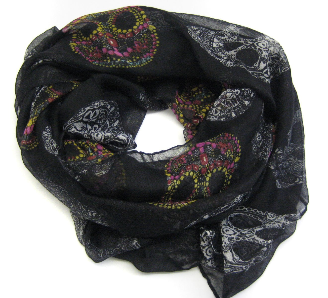 Carefree Ultra Soft Light Suger Skulls Scarf Colorful by Cozyline