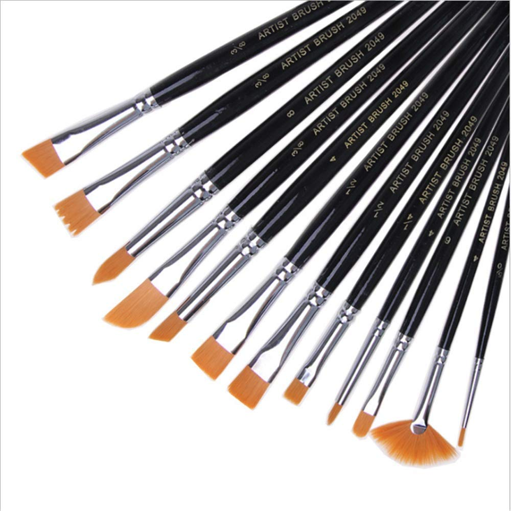 KSUNSEVEN 12pcs/Set Professional Paint Brush Different Tip Nylon Hair Wood Artist Painting Brush for Acrylic Watercolor Oil Painting Stationery Crafts Kids Gift Black Color